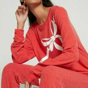 Wildfox Bow Ribbon Printed Pullover Sweater